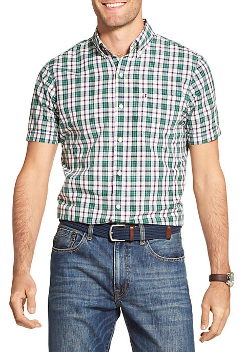 IZOD Breeze Plaid Short Sleeve Button Down Shirt