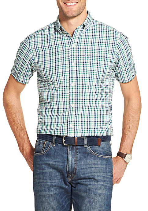 IZOD Breeze Gingham Short Sleeve Button Down Shirt
