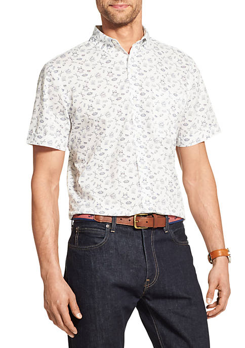 IZOD Breeze Printed Short Sleeve Button Down Shirt