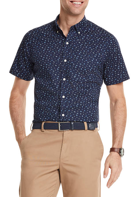 IZOD Advantage Performance Printed Short Sleeve Button Up