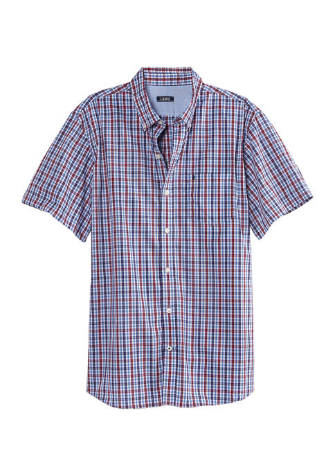 IZOD Advantage Performance Plaid Short Sleeve Button Up