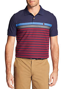 Big & Tall Advantage Performance Engineered Stripe Polo T-Shirt