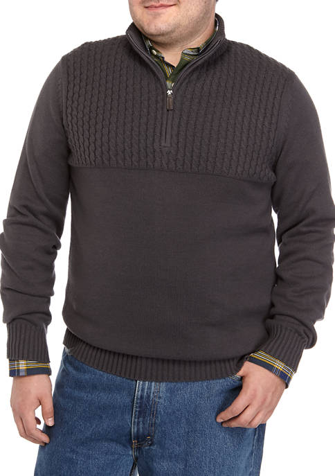 IZOD Big & Tall Premium Essentials Cable-Knit Quarter-Zip