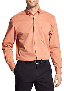 Big & Tall Long Sleeve Solid Stretch Poplin