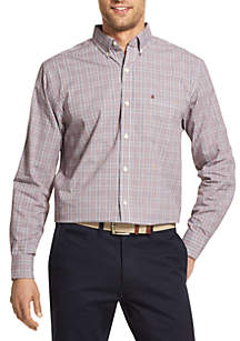 Long Sleeve Small Plaid Stretch Poplin Button Down
