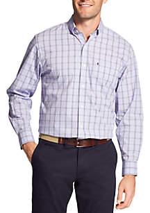 Big & Tall Long Sleeve Small Plaid Stretch Poplin Button Down