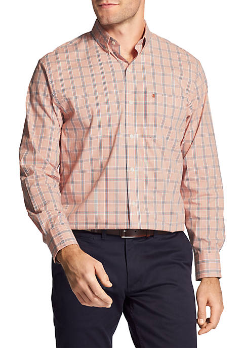 IZOD Long Sleeve Small Plaid Stretch Poplin Button