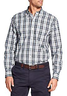 Big & Tall Long Sleeve Stretch Plaid Button Down Shirt