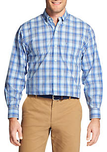Big & Tall Medium Plaid Stretch Poplin Shirt