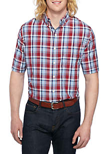 Big & Tall Short Sleeve Plaid Breeze Shirt