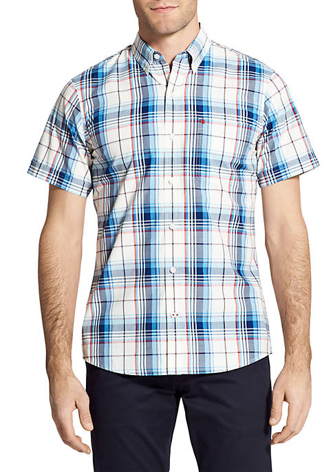 IZOD Short Sleeve Medium Plaid Breeze Shirt