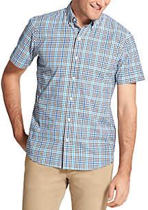 Short Sleeve Small Plaid Breeze Shirt