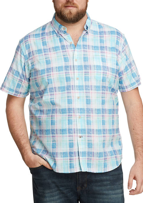 Big & Tall Dockside Chambray Plaid Short Sleeve Button Up Shirt