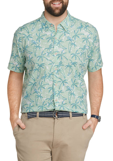 IZOD Big & Tall Short Sleeve Chambray Palm