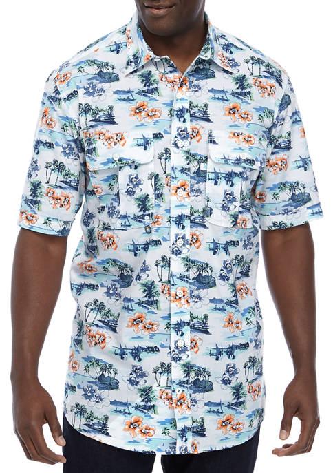Big & Tall Tropical Island Beach Shirt