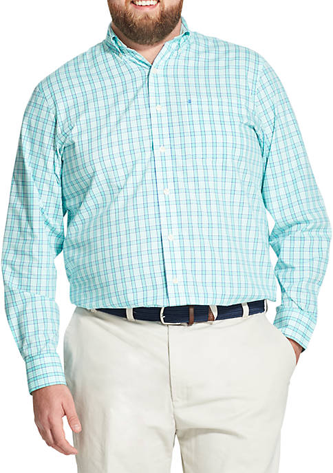 IZOD Big & Tall Premium Essentials Plaid Button