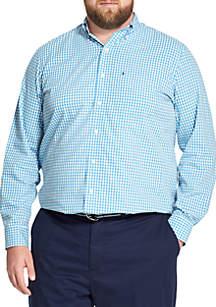 IZOD Big & Tall Premium Essentials Gingham Button Down Shirt