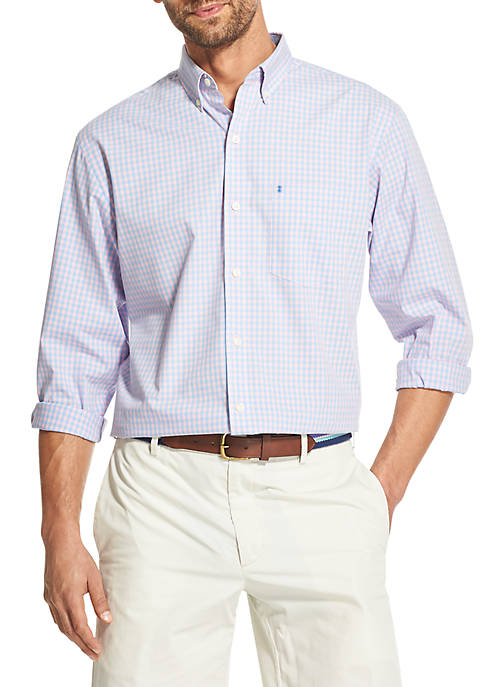 IZOD Big & Tall Premium Essentials Gingham Button