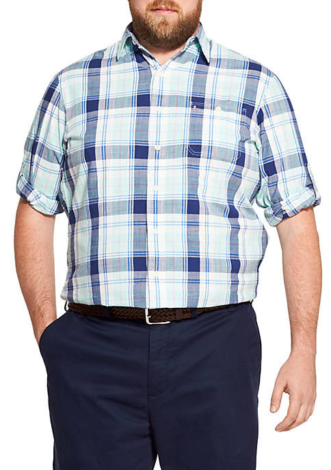IZOD Big & Tall Saltwater Dockside Chambray Plaid