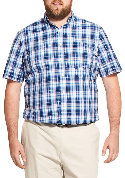 Big & Tall Breeze Plaid Short Sleeve Button Down Shirt