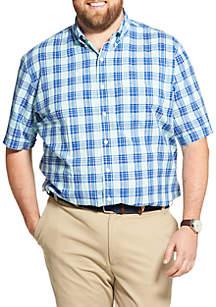 IZOD Big & Tall Saltwater Dockside Chambray Plaid Short Sleeve Button Down Shirt