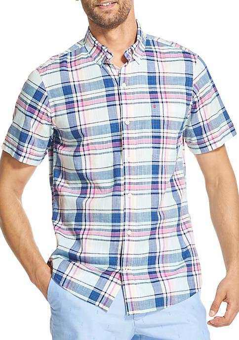 Big & Tall Saltwater Dockside Chambray Plaid Short Sleeve Button Down Shirt