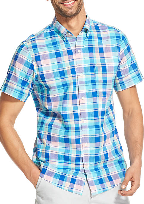 Big & Tall Saltwater Dockside Chambray Plaid Short Sleeve Button Down Shirt