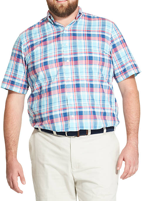 Big & Tall Saltwater Dockside Chambray Plaid Short-Sleeve Button Down Shirt