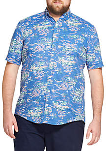Big & Tall Saltwater Dockside Chambray Printed Short-Sleeve Button Down Shirt