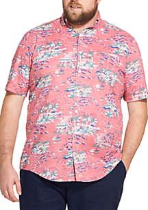 Big & Tall Saltwater Dockside Chambray Printed Short-Sleeve Button Down Shirt