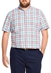 IZOD Big & Tall Breeze Plaid Short Sleeve Button Down Shirt