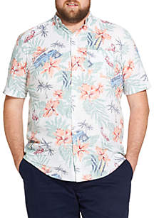 Big & Tall Saltwater Dockside Chambray Printed Button Down Shirt