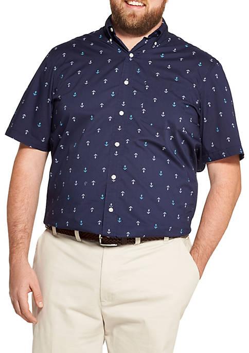 Big & Tall Breeze Printed Short Sleeve Button Down Shirt