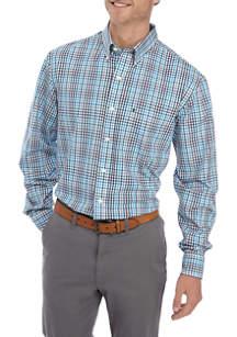 Big & Tall Long Sleeve Premium Poplin Gingham Shirt by Izod