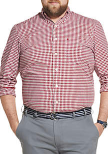 IZOD Big & Tall Premium Essentials Stretch Gingham Button Down Shirt