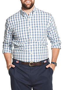 IZOD Big & Tall Premium Essentials Stretch Plaid Button Down Shirt