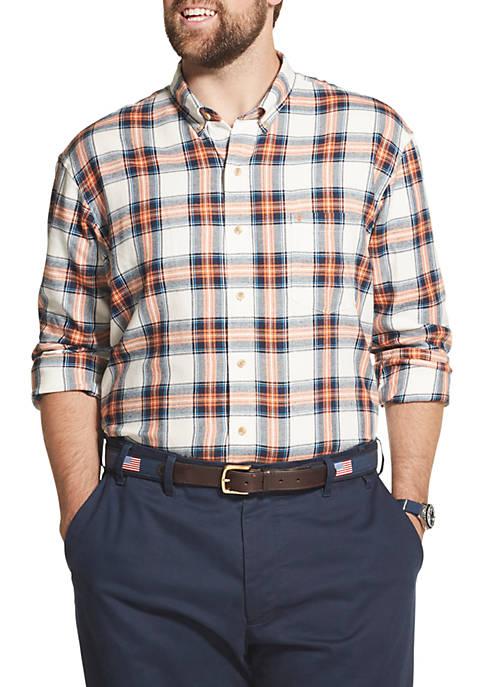 IZOD Big & Tall Flannel Plaid Button Down