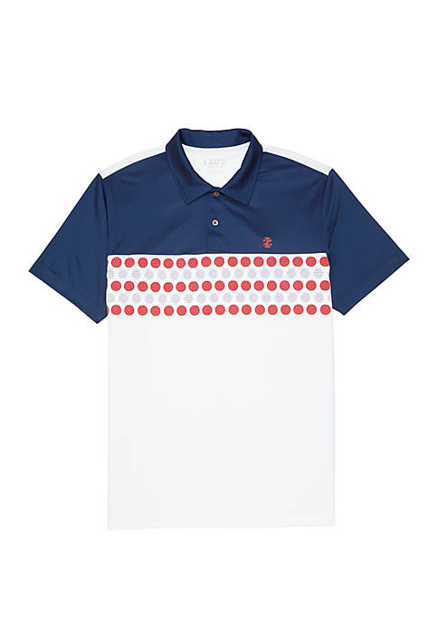 IZOD Color Block Printed Golf Polo Shirt