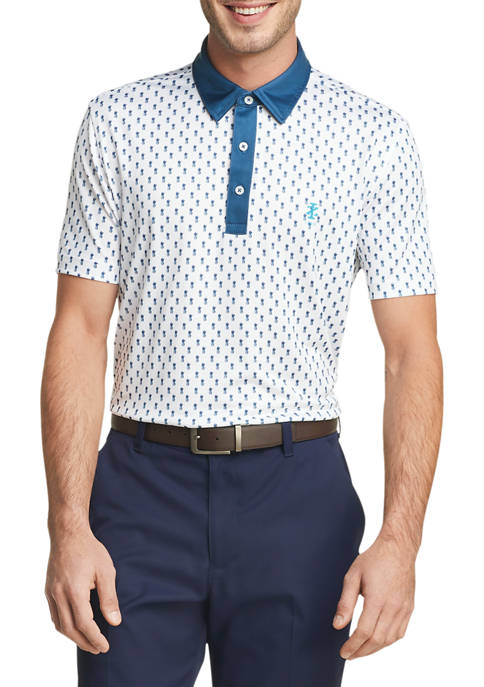 IZOD Mens Golf Pineapple Print Polo Shirt