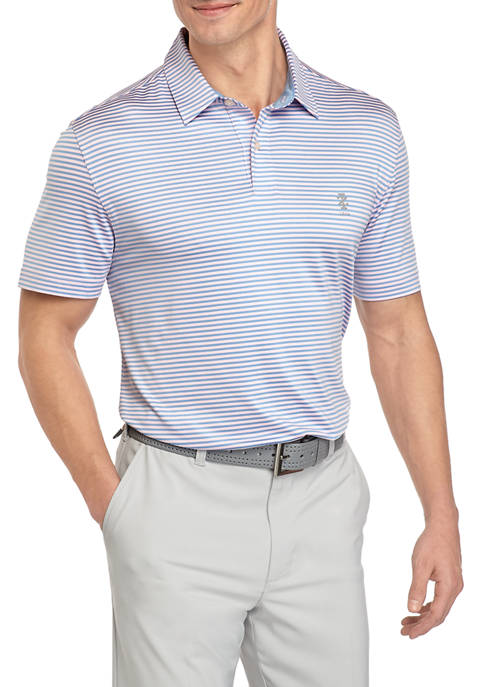 Mens Golf Striped Polo Shirt