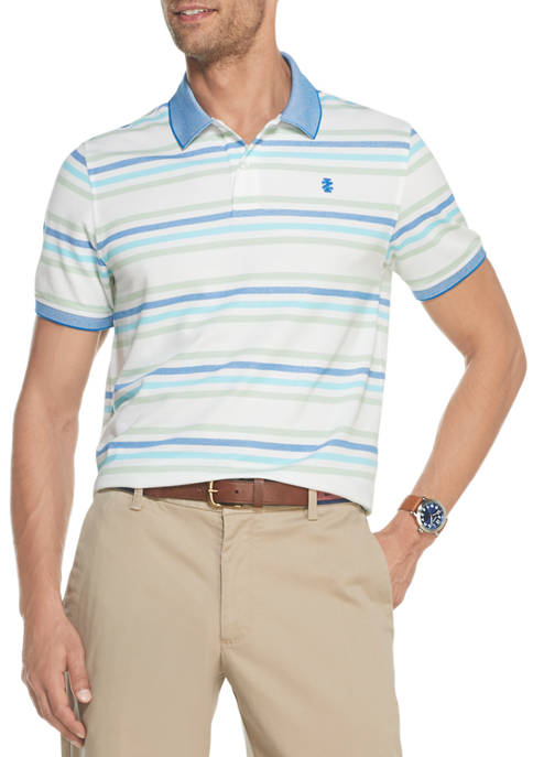 IZOD Mens Advantage Performance Striped Polo Shirt