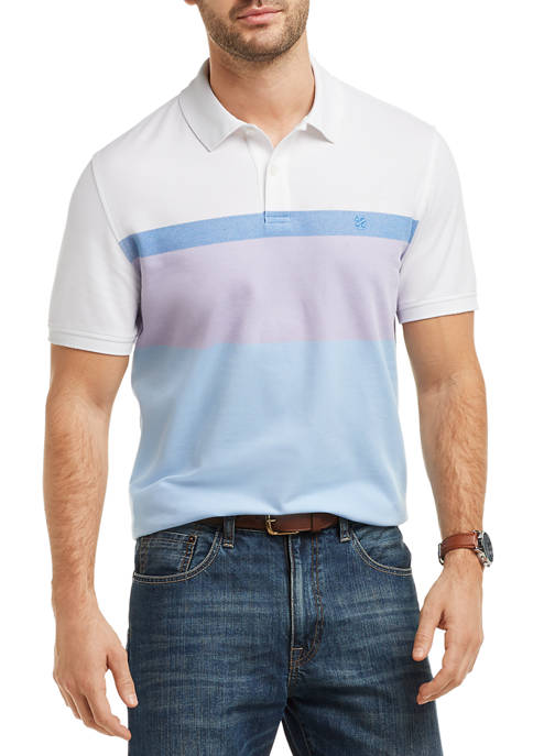 IZOD Mens Short Sleeve Color Block Advantage Polo