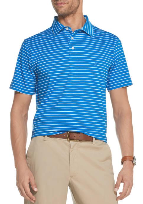 Mens Short Sleeve Two Tone Stripe Polo Shirt