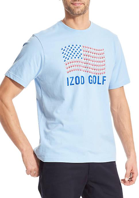 IZOD Short Sleeve American Golf Flag Graphic T