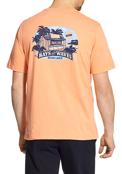 Short Sleeve Rays And Waves Graphic T Shirt