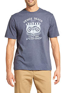 Short Sleeve Venice Motorcycle Graphic Print Tee