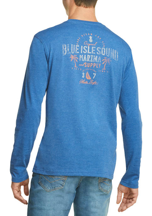 IZOD Mens Saltwater Graphic Long Sleeve T-Shirt