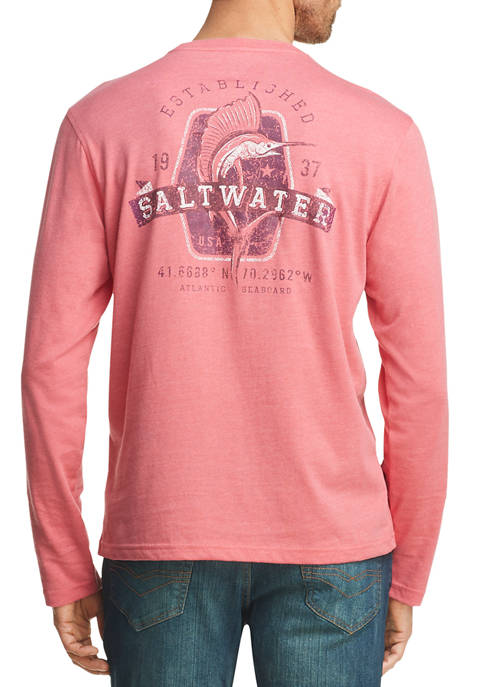 IZOD Mens Saltwater Graphic Long Sleeve T-Shirt