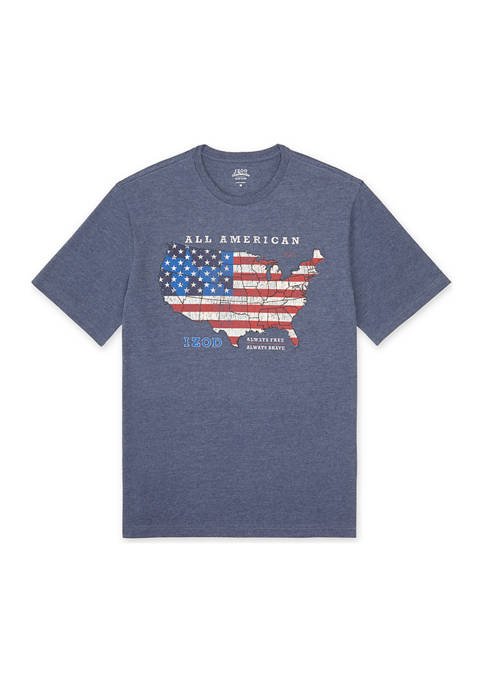 Mens Short Sleeve USA Start and Stripes T-Shirt