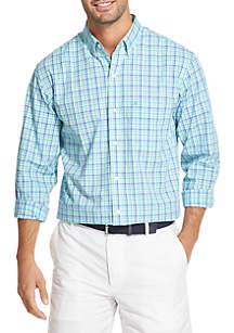IZOD Long Sleeve Stretch Plaid Print Shirt
